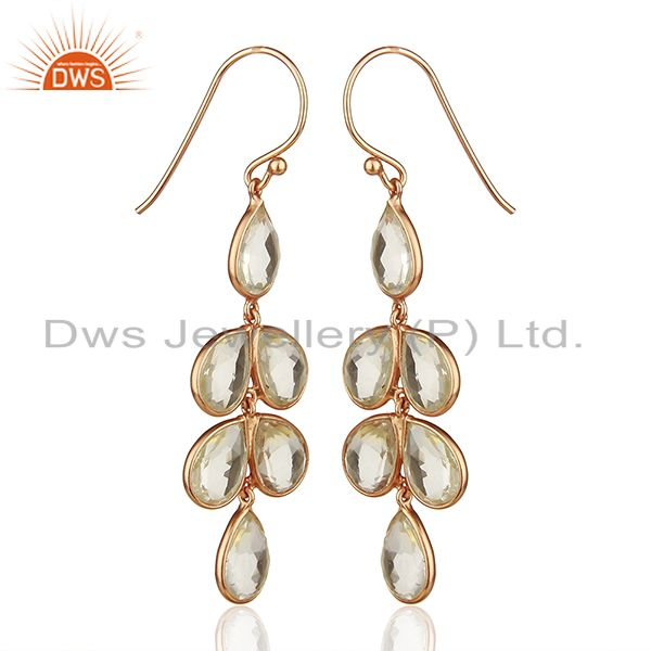Exporter Rose Gold Plated 925 Sterling Silver Dangle Earrings Wholesale
