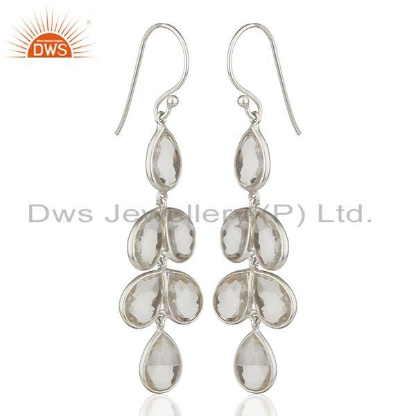 Exporter Solid 925 Fine Silver Crystal Gemstone Hook Earring Manufacturers