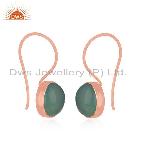 Exporter Rose Gold Plated Sterling Silver Aqua Chalcedony Gemstone Earring