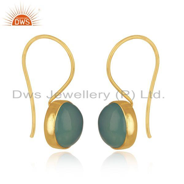 Exporter Gold Plated 925 Silver Aqua Chalcedony Gemstone Earring Supplier