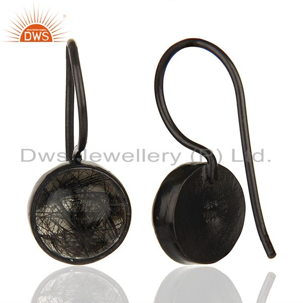 Exporter Black Rutile and 925 Silver Girls Drop Earrings Wholesale Supplier