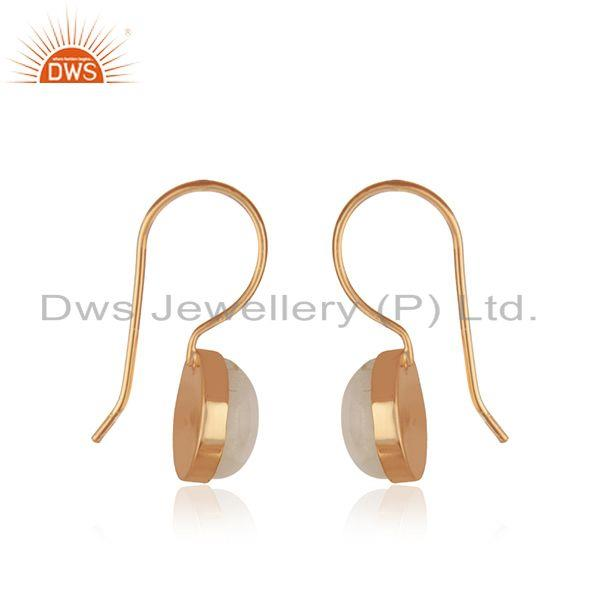 Exporter Rose Gold Plated 925 Silver Rainbow Moonstone Drop Earring Manufacturer