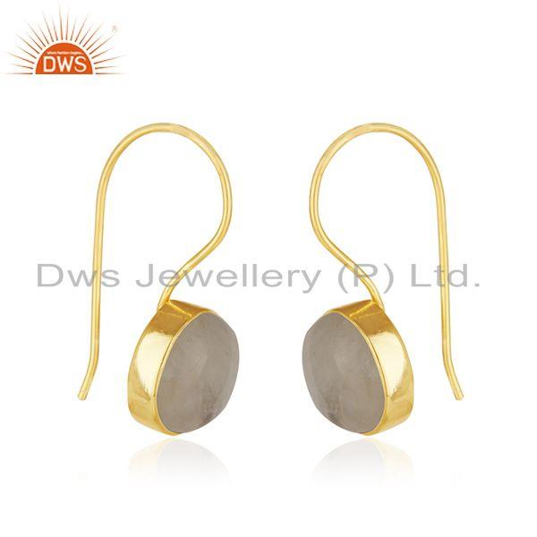 Exporter Natural Rainbow Moonstone 18k Gold Plated 925 Silver Earrings Manufacturer India