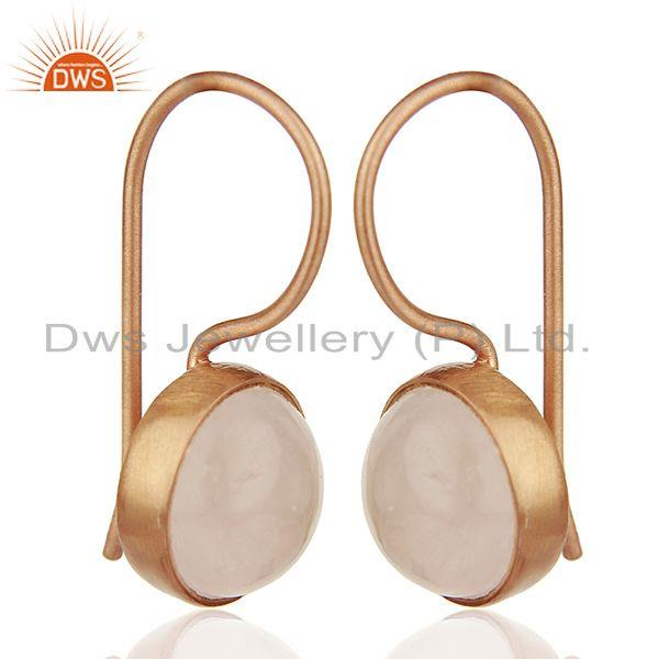 Exporter Round Rose Quartz Gemstone 925 Silver Rose Gold Plated Earring Jewelry