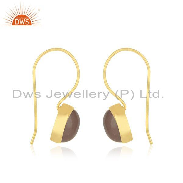 Exporter Rose Quartz Gemstone 925 Silver Gold Plated Earrings Manufacturer India