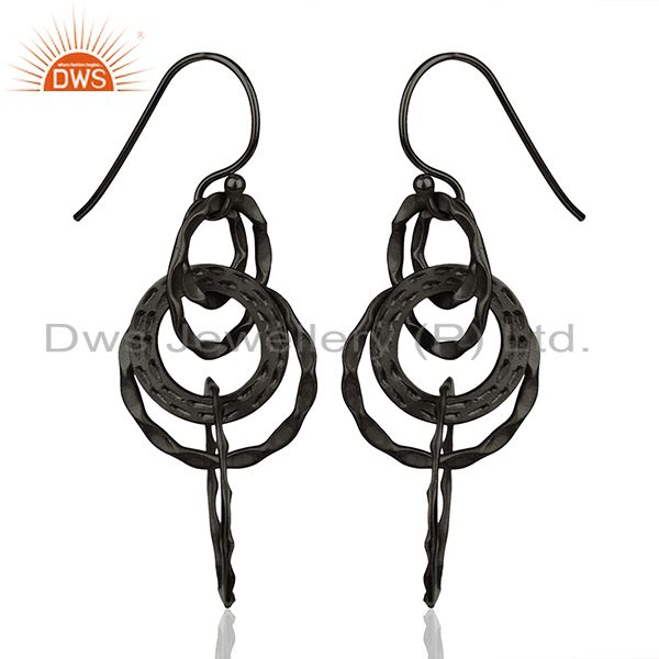 Exporter Black Rhodium Plated 925 Silver Round Link Earrings Manufacturer