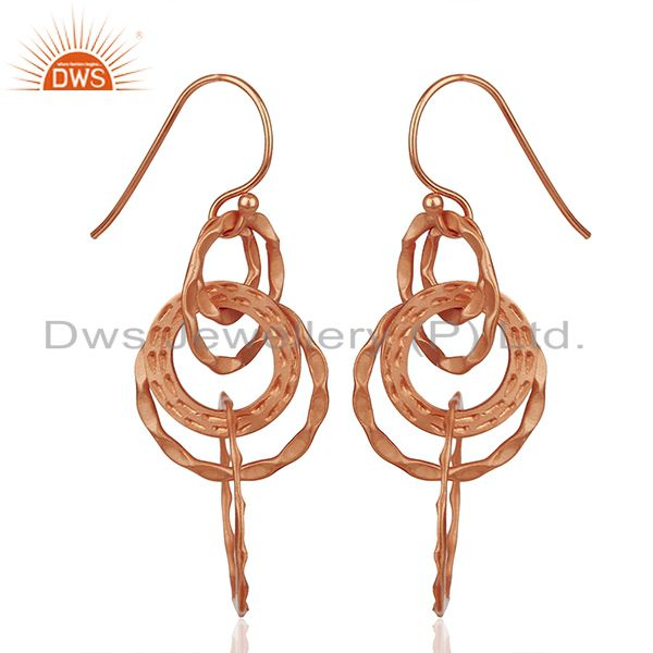 Exporter Rose Gold Plated 925 Silver Hammered Earrings Jewelry Wholesale