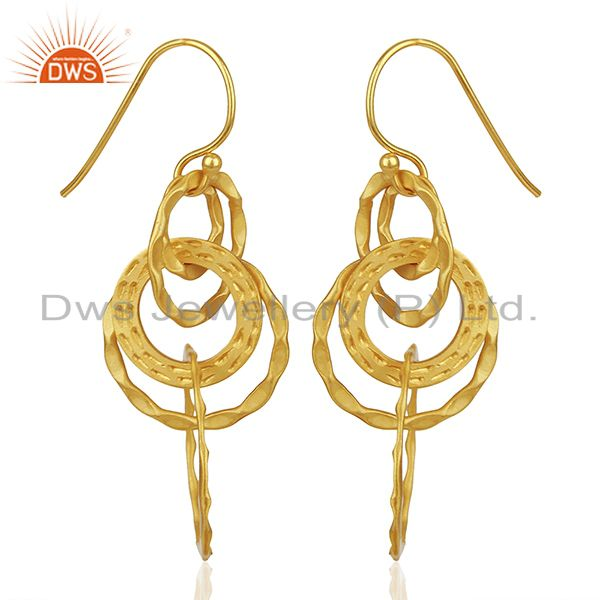 Exporter Hammered 925 Silver Gold Plated Dangle Earrings Jewelry Manufacturer