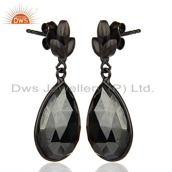 Exporter Black Rhodium Plated 925 Silver Hematite Gemstone Earrings Jewelry
