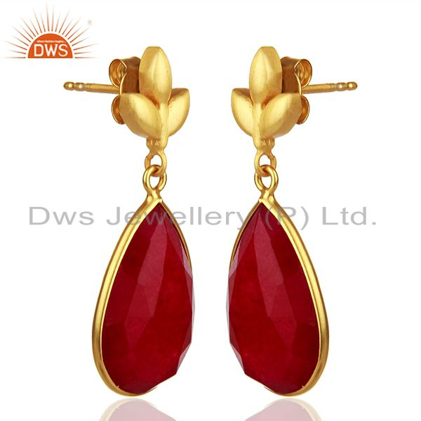 Exporter Red Aventurine Gemstone 925 Silver Gold Plated Girls Earrings Jewelry