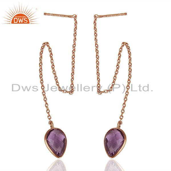 Exporter Rose Gold Plated 925 Silver Amethyst Gemstone Chain Earrings Jewelry