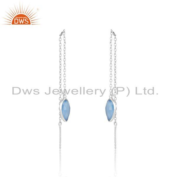 Designer dainty chain dangle in silver 925 with blue chalcedony