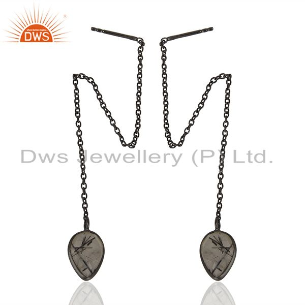 Exporter Black Rutile Gemstone Black Sterling Silver Chain Earring Manufacturer