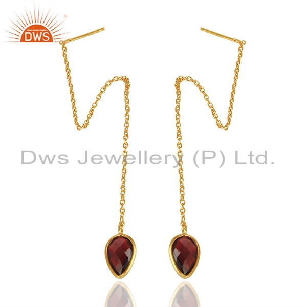 Exporter Natural Garnet Gemstone Solid 925 Silver Gold Plated Chain Earrings