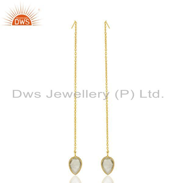 Exporter Gold Plated Sterling Silver Lemon Topaz Gemstone Chain Earrings Manufacturer