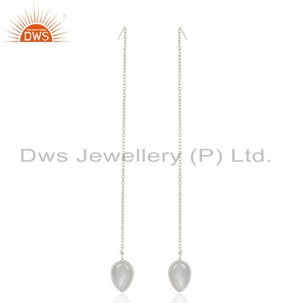Exporter Gray Moonstone Fine Sterling Silver Chain Dangle Earrings Manufacturer India