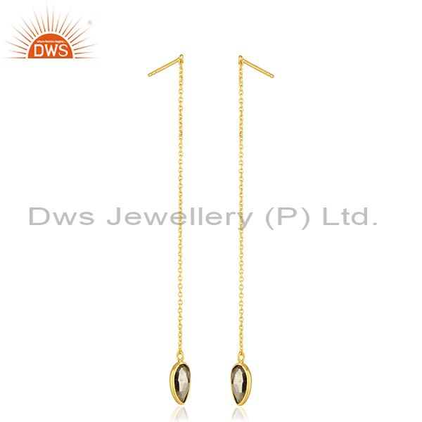 Exporter Pyrite Gemstone 925 Silver Gold Plated Chain Earrings Jewelry Manufacturer