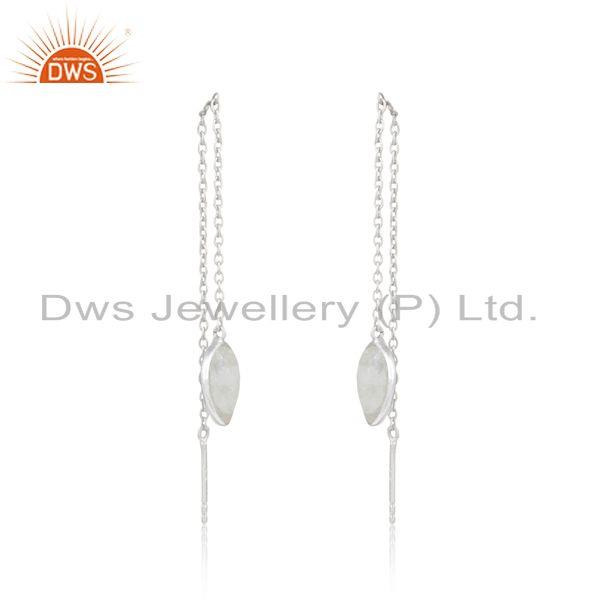Designer dainty chain dangle in silver 925 with rainbow moonstone