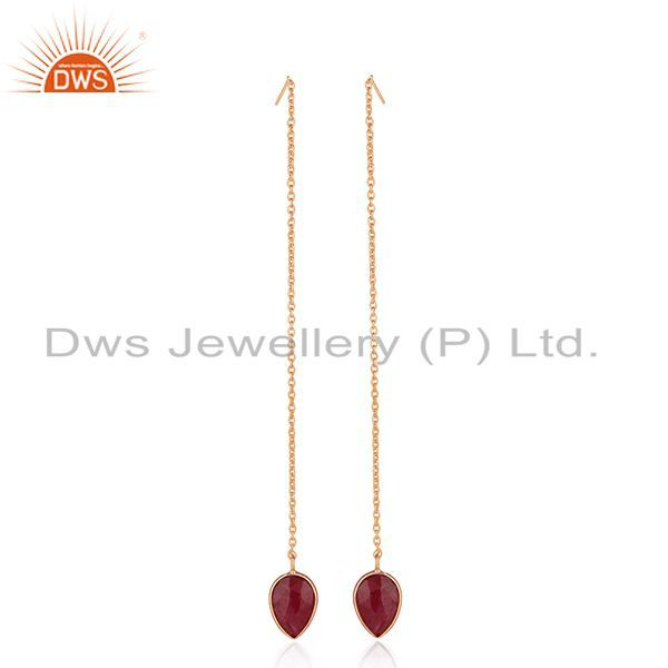 Exporter Corundum Ruby Gemstone Rose Gold Plated 925 Silver Earrings Wholesale India