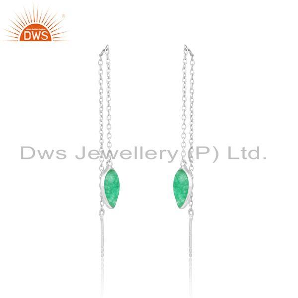 Designer dainty chain dangle in silver 925 with green avanturine