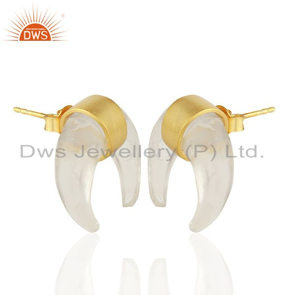 Exporter Crystal Quartz Crescent Moon 925 Sterling Silver 18k Gold Plated Studs Earring