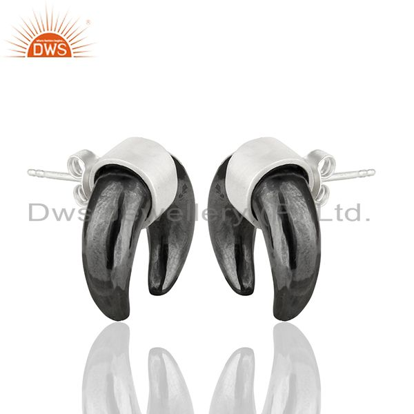 Exporter Hematite Crescent Moon 925 Sterling Silver Studs Earring Jewelry