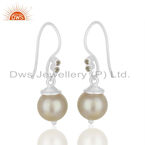 Exporter White Topaz and Pearl Gemstone 925 Silver Drop Earrings Manufacturer