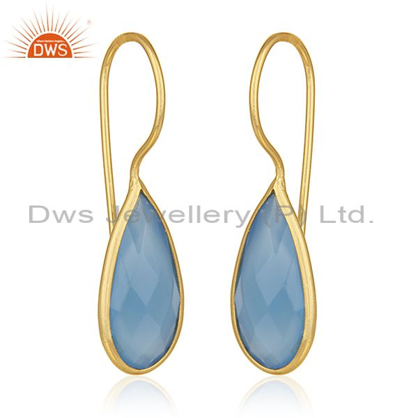 Exporter Gold Plated Silver Gemstone Earrings Jewelry Manufacturer for Designers India