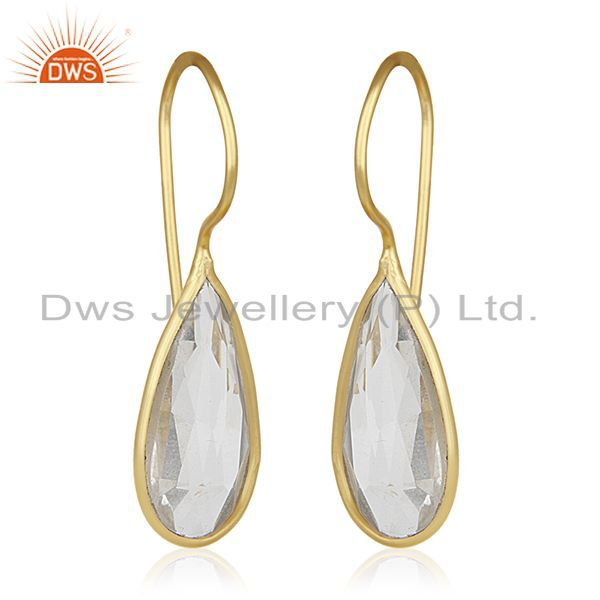 Exporter Gold Plated Sterling Silver Crystal Drop Earrings Wholesale Supplier of Jewelry