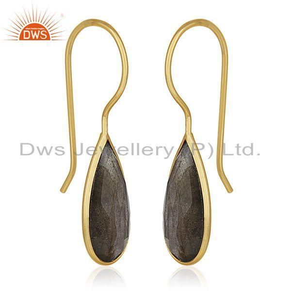 Exporter Labradorite Gemstone 925 Silver Gold Plated Earrings Manufacturer of Jewelry