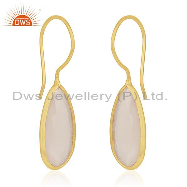 Exporter Rose Chalcedony Gemstone Gold Plated 925 Silver Dangle Earring Manufacturer