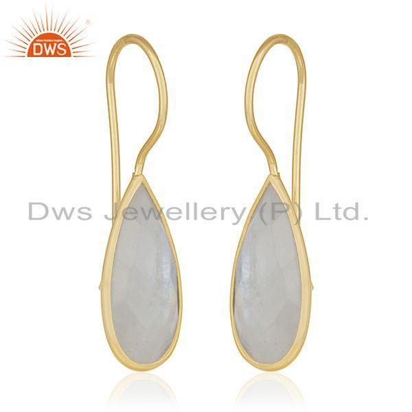 Exporter 925 Silver Rainbow Moonstone Earrings Jewelry Manufacturer for Designers India