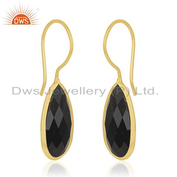 Exporter Black Onyx Gemstone 925 Sterling Silver Gold Plated Earring Manufacturer Jewelry