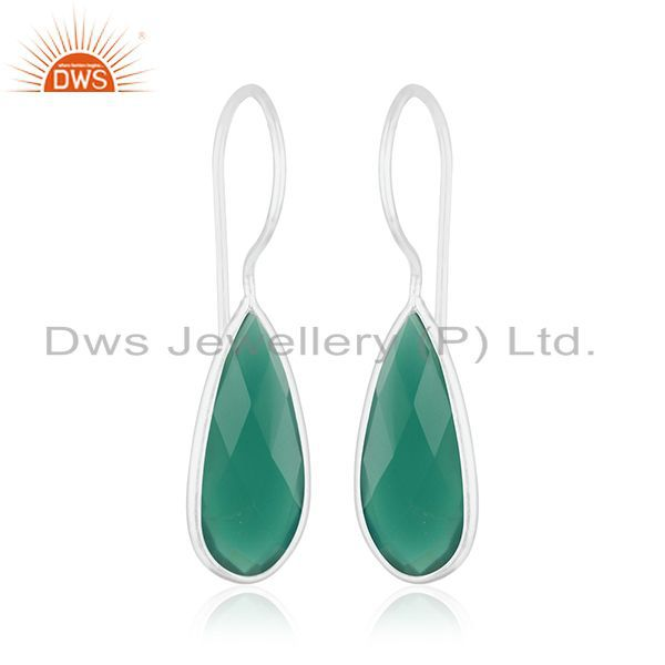 Exporter Green Onyx Gemstone 925 Sterling Fine Silver Dangle Earring Manufacturers