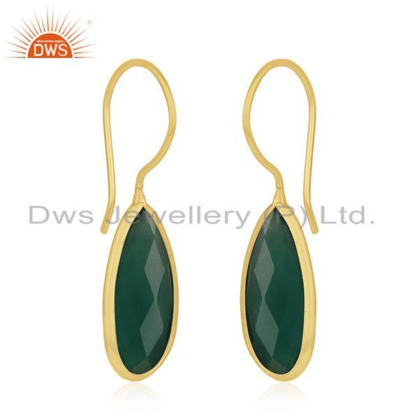 Exporter Handmade Gold Plated 925 Silver Green Onyx Gemstone Earrings Wholesale