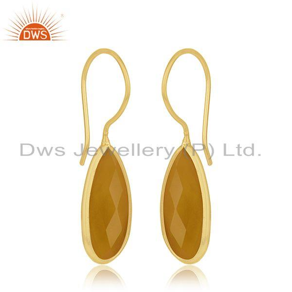 Exporter Yellow Chalcedony Silver Gold Plated Earring Jewelry
