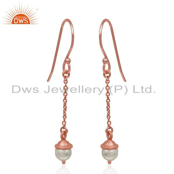 Exporter Rose Gold Plated 925 Silver Natural Pearl Designer Earrings Manufacturer India