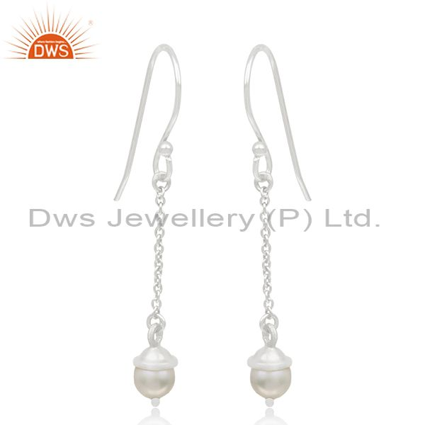 Exporter Sterling 92.5 Silver Natural Pearl Handmade Chain Earrings Manufacturer