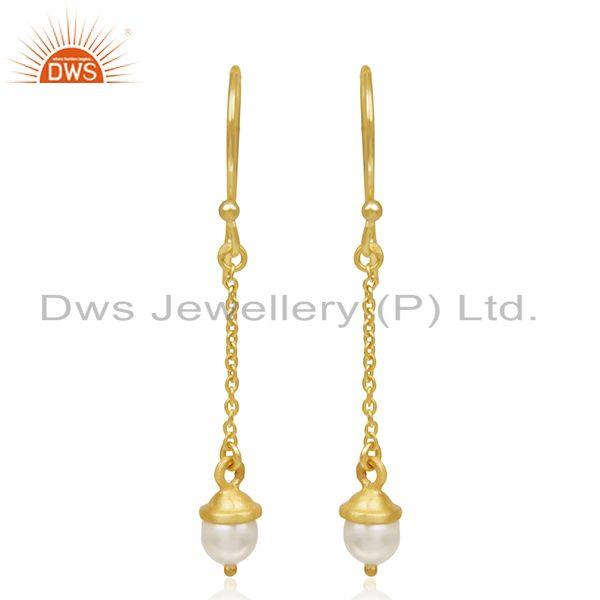 Exporter 92.5 Sterling Silver Gold Plated Natural Pearl Earrings Manufacturer of Jewelry