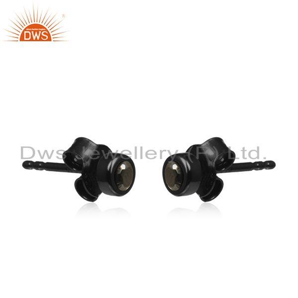 Exporter Black Rhodium Plated 925 Silver Hematite Gemstone Stud Earrings Wholesaler India