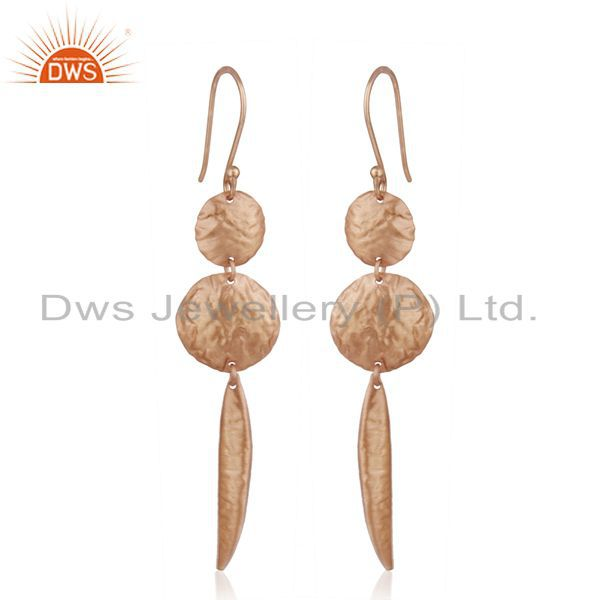 Exporter Handmade Rose Gold Plated 925 Sterling Silver Designer Earrings Manufacturer