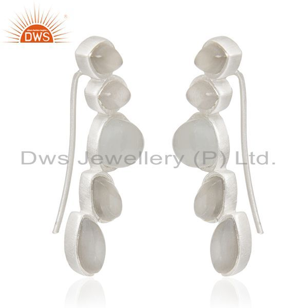 Exporter Gray Moonstone 925 Sterling Silver Dangle Earrings Manufacturers India