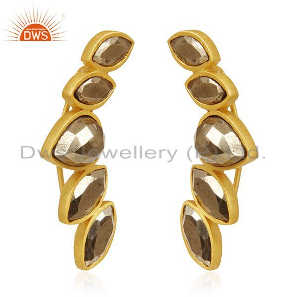 Exporter Gold Plated 925 Silver Pyrite Gemstone Dangle Earrings Manufacturer India
