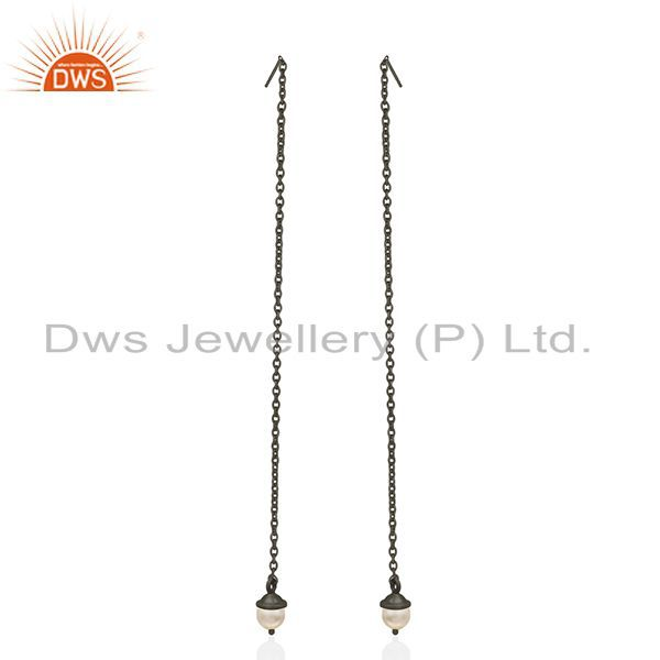 Exporter Black Rhodium Plated Sterling Silver Pearl Earrings Manufacturer of Jewelry