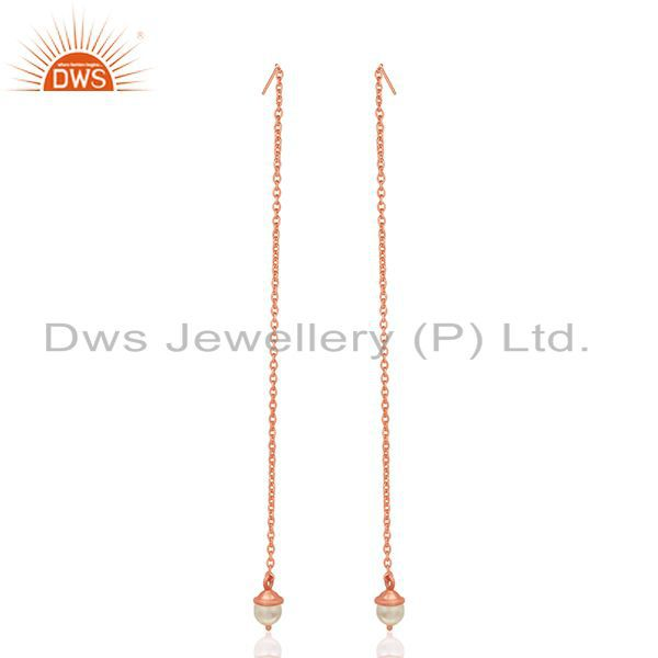 Exporter Rose Gold Plated Sterling Silver Pearl Designer Earrings Manufacturer India