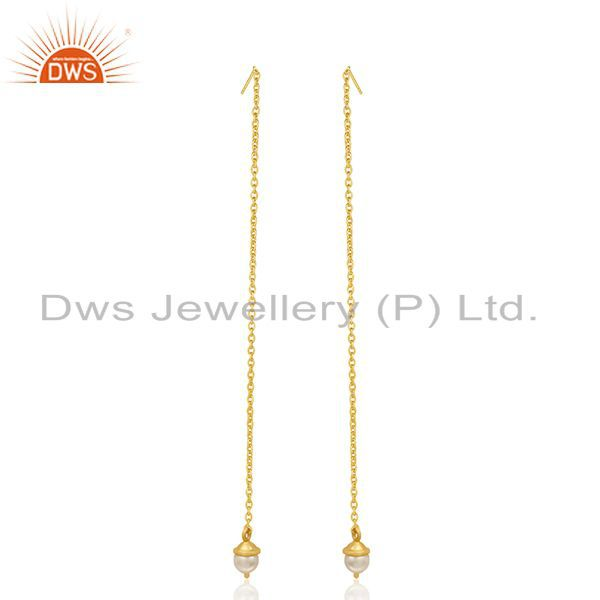Exporter Natural Pearl Gold Plated Sterling Silver Designer Chain Earrings Manufacturer