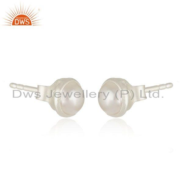 Exporter 92.5 Fine Sterling Silver Natural Pearl Round Stud Earrings Manufacturer India