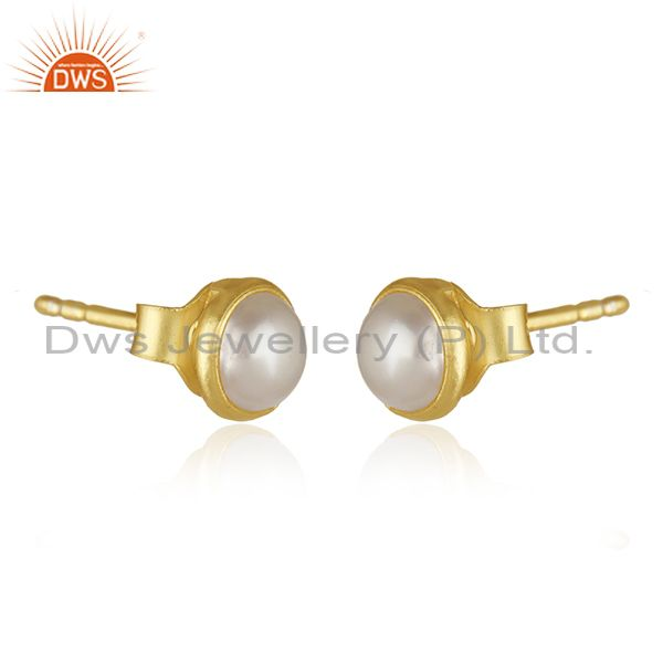 Exporter 18k Gold Plated 925 Sterling Silver Natural Pearl Round Stud Earrings Supplier