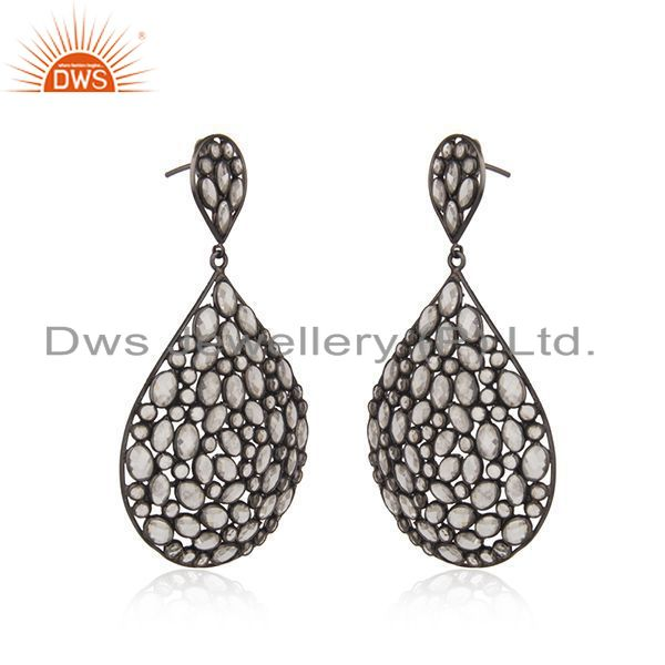 Exporter White Zircon Gemstone Rhodium Plated Silver Wedding Earring Jewelry