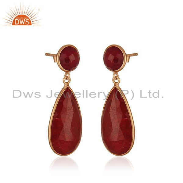 Exporter Corundum Ruby Gemstone Gold Plated 925 Silver Earring Manufacturer India
